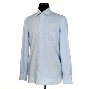 Isaia Dress Shirt White w/Blue Checks Size 16 - 41